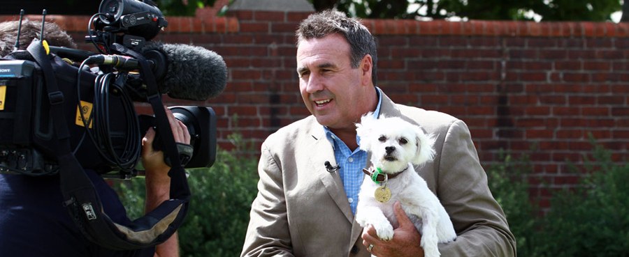 News and Media - Mike Larkin for 'Give a dog a home' segment on channel 10