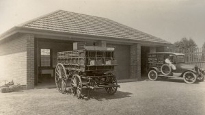 Garage, MCC original horse drawn cart and the Home's first motorised cart in 1920 - LDH Photo Album